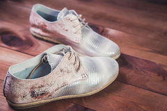 银穿上鞋子意大利人鞋子妇女鞋子 免版税库存照片