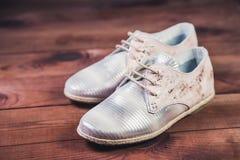 银穿上鞋子意大利人鞋子妇女鞋子 免版税图库摄影