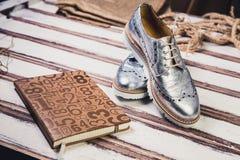 银穿上鞋子意大利人鞋子妇女 库存图片