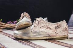 银穿上鞋子意大利人鞋子妇女 免版税图库摄影