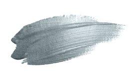 银色与闪烁纹理的画笔污点或污点冲程和抽象油漆刷闪烁的墨水轻拍污迹在白色backgroun 免版税图库摄影