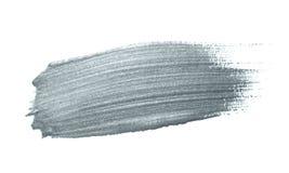 银色与闪烁纹理的画笔污点或污点冲程和抽象油漆刷闪烁的墨水轻拍污迹在白色backgroun 向量例证