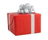 银色丝带红色礼物盒工艺折叠条纹指南方向 免版税库存图片