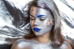 银色人体艺术 图库摄影