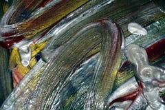 银色催眠黑暗的画笔冲程的抽象 水彩油漆摘要背景 免版税库存照片