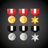 银色军事的奖牌金黄和 奖牌象 免版税库存图片