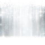 银色冬天,与光线影响的圣诞节背景 免版税图库摄影