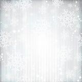 银色冬天,与雪花特征模式的圣诞节背景 库存图片