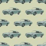 银色减速火箭的跑车 与汽车的无缝的样式 库存照片