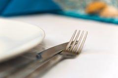 银色刀叉餐具 免版税库存图片