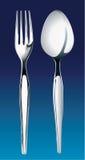 银色叉子和匙子的传染媒介例证 免版税库存照片