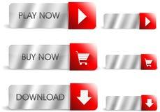银色和红色按钮 免版税库存图片