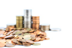 银色和铜币 免版税库存照片