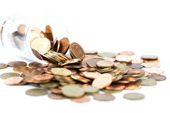 银色和铜币 免版税库存图片