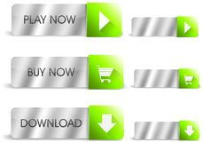 银色和绿色按钮 免版税库存照片