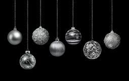 银色圣诞节球收藏 图库摄影