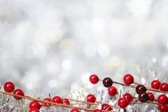 银色圣诞节背景 库存图片