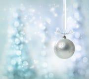 银色圣诞节装饰品 免版税库存图片