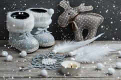 银色圣诞节装饰,梦想俘获器 免版税库存图片