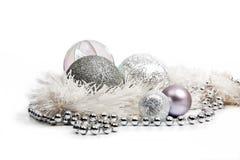银色圣诞节装饰 库存照片