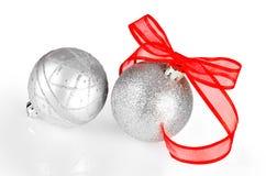 银色圣诞节装饰 库存图片