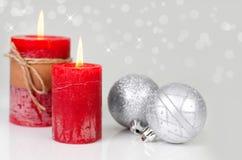 银色圣诞节装饰 图库摄影