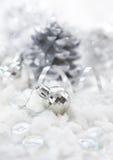 银色圣诞节装饰 免版税库存图片