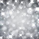 银色圣诞节满天星斗的背景 向量例证