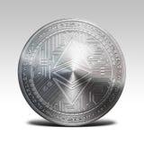 银色在白色背景3d翻译隔绝的ethereum经典硬币 图库摄影