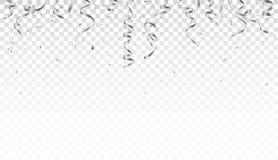 银色在透明背景隔绝的五彩纸屑和丝带 皇族释放例证