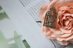 银色垂饰,在一只笼子的心形的护身符在开花的背景上升了 库存图片