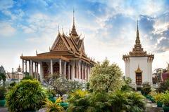 银色塔,王宫,金边, No.1在凸轮的吸引力 免版税库存照片