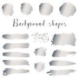 银色墨水边界,刷子冲程,污点,横幅,污点,喷溅 免版税库存图片