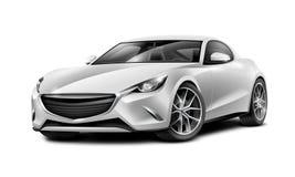 银色小轿车运动的汽车 有光滑的表面的普通汽车在白色背景 免版税图库摄影