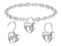 银色心脏锁垂饰被隔绝的项链 库存照片