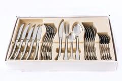 银色扁平的餐具 免版税库存图片