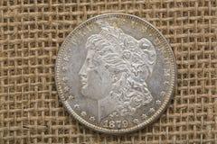 银色摩根美元1879正面前面 库存图片