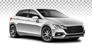 银色斜背式的汽车普通汽车 有光滑的表面的城市汽车在白色背景 免版税图库摄影