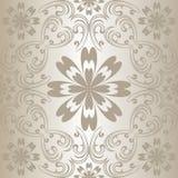 银色无缝的花卉模式。 免版税库存照片