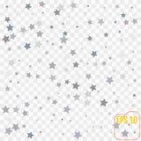 银色星 五彩纸屑庆祝,下跌的银色抽象deco 免版税库存图片