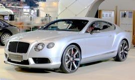 银色本特利系列大陆GT V-8 S豪华汽车 免版税库存图片