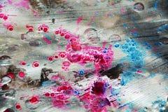 银色桃红色深蓝闪耀的水彩背景,蜡状的抽象纹理 免版税库存图片