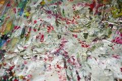银色桃红色绿色桔子闪耀的生动的蜡油漆结构,紫色油漆结构,绘抽象创造性的背景 库存图片