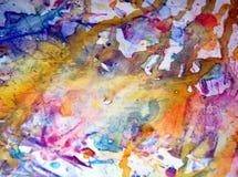银色橙色蓝色察觉背景,闪耀的泥泞的蜡状的油漆,对比在淡色颜色的形状背景 库存图片