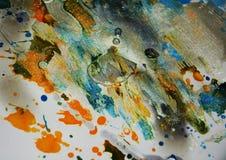 银色淡色黑暗的水彩蜡状的生动的斑点,抽象创造性的背景 库存图片