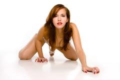 银色游泳衣的性感的针女孩 免版税图库摄影