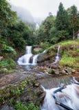 银色瀑布或Thac Bac在雾在雨季 免版税库存照片