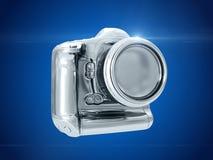 银色照相机 3d翻译 免版税库存图片