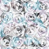 银色玫瑰无缝的样式 库存照片
