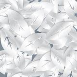 银色白色叶子摘要无缝的样式 免版税图库摄影